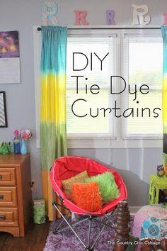 Tie Dye Rideaux Bricolage - apprendre à faire vos propres cravates rideaux de colorants rayés dans n'importe quelle couleur de l'arc en ciel...