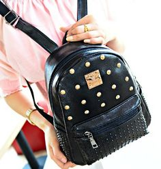 2014 Personality Casual studded backpack,new fashion women Japanese backpack,PU leather small vintage book bags In stock C7 844-in Casual Daypacks from Luggage & Bags on Aliexpress.com | Alibaba Group
