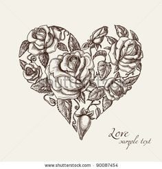 stock vector : Vintage roses in shape of a heart