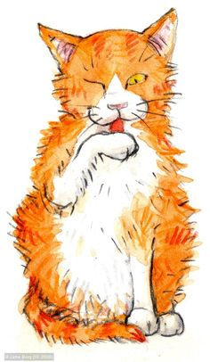Regola felina numero uno: nel dubbio, meglio lavarsi (Paul Gallico) Art by Jane Borg