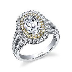 Designer Double Halo Triple Shank White and Yellow Gold Diamond Engagement Ring