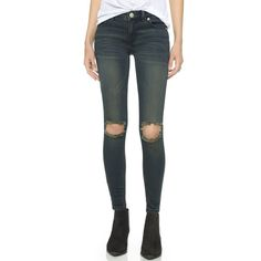 Free People Destroyed Jeans ($78) ❤ liked on Polyvore featuring jeans, patsy, faded jeans, torn skinny jeans, free people, destructed skinny jeans and ripped jeans