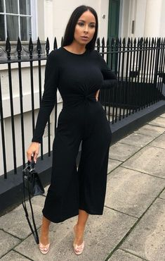 All Black Dresses, Black Dress Outfits, All Black Outfit, Cute Summer Outfits, Stylish Dresses, The Dress, Jumpsuits For Women, Fashion Outfits, Long Sleeve