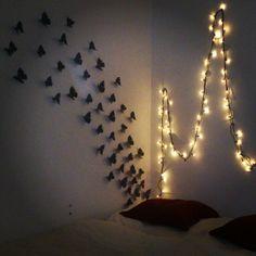 DIY bedroom. Butteeflies and lights