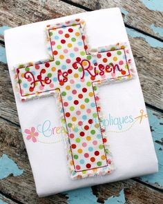Raggy Cross Applique REPIN THIS then click here: www.creativeappliques.com