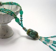 Turquoise/Teal Tassel Necklace  Handmade Necklaces by SwankyJewels - 48 euro