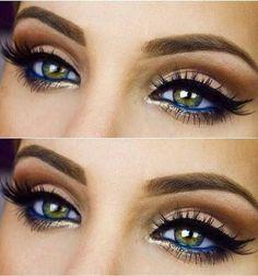 20 Eye Makeup Looks you will love Beautiful eye makeup! gold highlight blue eyeliner bold black eyeliner & brows – Das schönste Make-up Beautiful Eye Makeup, Pretty Makeup, Love Makeup, Makeup Inspo, Makeup Inspiration, Makeup Ideas, Makeup With Blue Dress, Navy Blue Dress Makeup, Makeup Kit