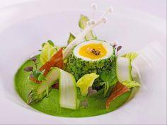 Herb crusted egg, asparagus,pata negra