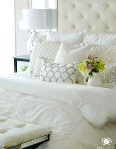 Kelley Nan: Five Times to Go White- Plush white Pottery Barn Hadley Ruched Duvet and Diamond Quilt with Tufted Lorraine Bed and Headboard