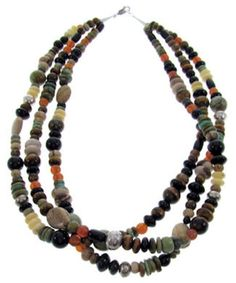 Native American Multicolor Silver Bead Necklace PS71900