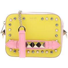 Salar Handbag (875 MYR) ❤ liked on Polyvore featuring bags, handbags, yellow, yellow purse, leather purses, yellow handbags, studded purse and metallic handbags