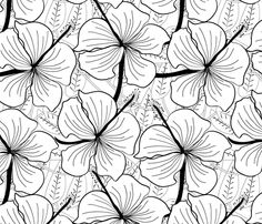 hibiscus_black_and_white fabric by madex on Spoonflower - custom fabric