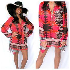 Sexy Aztec Chiffon Pink Tangerine Tunic Annalee + Hope Dillards