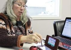 Kathy Manuel, education co-ordinator with the Secwepemc Cultural Education Society, demonstrates use of a Nintendo device