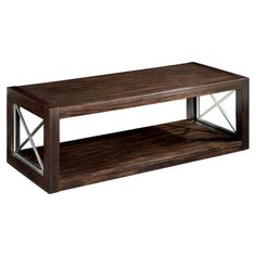 Showcasing a rosewood top and cherry veneers, this cocktail table boasts satin nickel x-shaped grilles on the base.         Product: C...