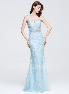 [US$ 197.19] Trumpet/Mermaid V-neck Floor-Length Tulle Prom Dress With Beading Appliques Lace (018075873)