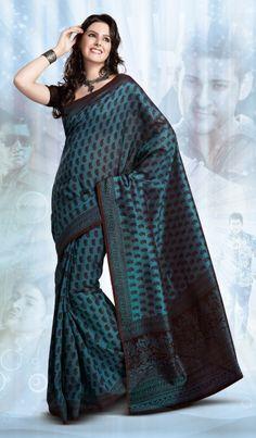 Blue Designer Indian Art Silk Saree with Nice Border