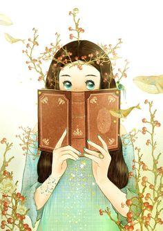 #小清新# #治愈系#Love reading books / Books Art / Illustration / Drawing & PaintingSource