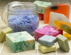 EXCERPT: Designing your Basic Soap After cutting your hard soap, wipe a damp cloth on the surface of your soap. Roll the soap in the herbs, spices or dried flower flakes before curing. You may also place a whole dried herbal leaf or flower in the center of the soap as a design.