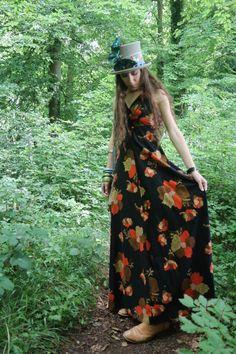 Bold Prints, Dress Vintage, Festival Fashion, Boho Dress, Florals, Print Design, My Etsy Shop, Orange, Model