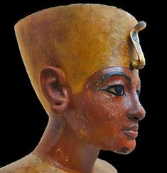 A wooden bust of Tutankhamun, 1345-1327 BCE, found in the pharaoh's tomb. (Cairo Museum, Egypt)