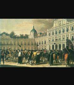 Motín de Aranjuez;19 de marzo de 1808. Motín popular ,dirigido por Fernando VII,revelado frente al palacio de Aranjuez tras la derrota en Trafalgar entre otros sucesos. Exigían la cabeza de Godoy pero este escapó por lo que Carlos IV abdicó y Fernando VII se convirtió en el nuevo rey hasta que comienze el proyecto de Napoleón sobre España .