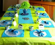Little Man Theme...bow Tie Napkins With Mustache Rings. Easy Centerpieces.
