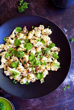 Roasted Cauliflower with Chimichurri Sauce   Community Post: 27 Vegan Thanksgiving Dishes That Will Make Meat Eaters Drool