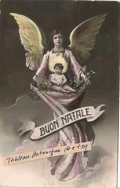 Christmas Postcard - Angel & Baby - Antique Photo - Tinted French Postcard