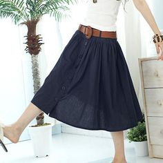 Button-Front Belted Long Skirt