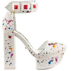 Kat Maconie Women's Colette - Paint Splat ($285) ❤ liked on Polyvore featuring shoes, heels, multicolor shoes, high heel ankle strap shoes, multi colored shoes, paint splatter shoes and white high heel shoes