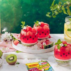 Galaretkowy deser arbuzowy z musem z kiwi Lactose Free Recipes, Kiwi, Free Food, Watermelon, Panna Cotta, Clean Eating, Good Food, Gluten, Vegan