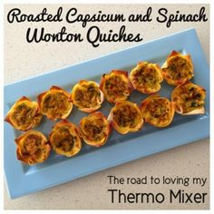 The road to loving my Thermomix: Roasted Capsicum and Spinach Wonton Quiches