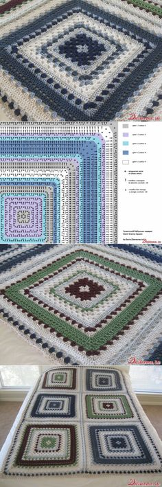 Giant granny square free crochet pattern. With chart