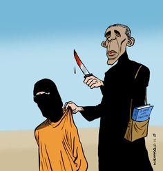 Michel Kichka  (2015-11-13)  Mon premier dessin de Jihadi John (Moahmmed Emwazi) et mon dernier -   Obama Jihadi John