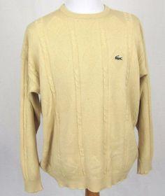 Chemise Lacoste Vintage Sweater XXL 7 Wool Cotton Crewneck Argyle Knit Pullover #Lacoste #Crewneck