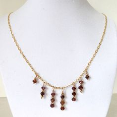 Pink Tourmaline Dangle Necklace 14K Gold Filled Figaro Chain & Accent Beads, Handmade, Genuine Gemstone. $97.00, via Etsy.