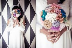 DIY Bouquet...saw these at a wedding I worked at tonight except hers were way better! She did the wire whisk, but use a loofah instead and then used pretty handmade fabric flowers, brooches, rings, pearls, and ribbon....they were perfect!