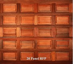 A wooden garage door in 20 Panel RFP style.