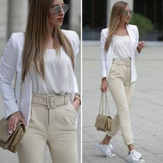 belt pants-dressy pants-tie pants-Neutral and classy outfits for women – Just Trendy Girls Blazer Outfits, Sporty Outfits, New Outfits, Trendy Outfits, Trendy Fashion, Fall Outfits, Cute Outfits, Fashion Outfits, Classy Outfits For Women