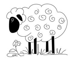 sheep with swirly wool and flower Wool Applique, Embroidery Applique, Cross Stitch Embroidery, Bordados E Cia, Sheep Art, Hand Embroidery Patterns, Digi Stamps, Rug Hooking, Craft Patterns