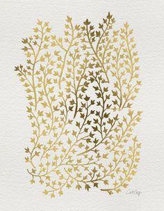 Gold Ivy Canvas Print by catcoq Framed Art Prints, Canvas Prints, Decoupage, Scrap, Pattern Wallpaper, Background Patterns, Boho, Art Paintings, Print Patterns