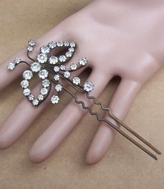 Vintage hair comb rhinestone bow shape hair pin by ElrondsEmporium