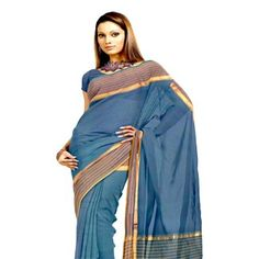 UNM4154 – Ethnic casual navy blue venkatagiri pure handloom cotton zari plain saree without blouse