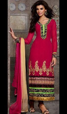 Magenta Embroidered Georgette Long Churidar Dress Price: Usa Dollar $103, British UK Pound £61, Euro76, Canada CA$110 , Indian Rs5562.