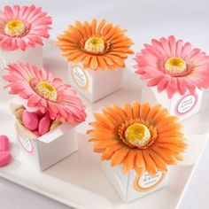 Gerber Daisy Favor Boxes with Personalized Labels.  We could make these with purple or orange daisy's.