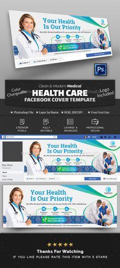 Medical Health Care Facebook Cover Facebook Cover Design, Facebook Cover Template, Facebook Timeline Covers, Medical Brochure, Medical Health Care, Social Media Banner, Workout, Cover Photos, Photoshop