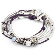 The Double Heatherin Sterling Silverleather wrap bracelet can also be worn as a necklace. Adorned with sterling silver beads, crescents and clasp this wrap br
