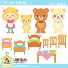 This is a collection of fairy tale clip art featuring Goldilocks and the Three Bears! Includes Papa Bear, Mama Bear, Baby Bear, Goldilocks, three c.