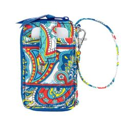 Carry It All Wristlet in Marina by Vera Bradley Paisley  Especially designed to fit large mobile phones, this zip-around also boasts four card slots, a zippered coin pouch, ID window and a bill slot. Use the adjustable wrist strap to carry as a handbag or a wristlet, or attach it to the handle of a larger bag.